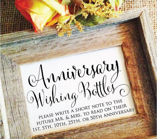Anniversary wishing bottle wedding sign