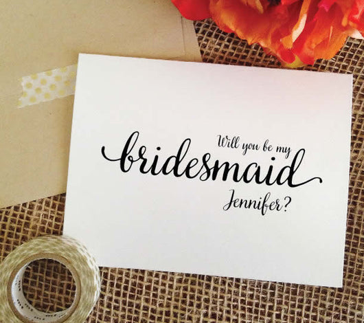 personalized will you be my bridesmaid cards