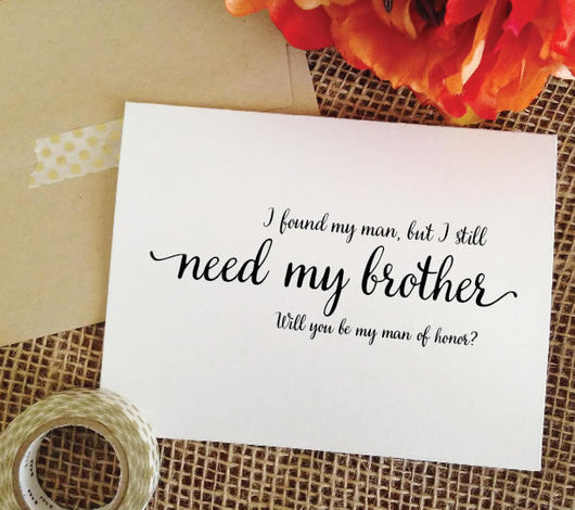 Brother Man of Honor Proposal Card - I found my man but I still need my brother