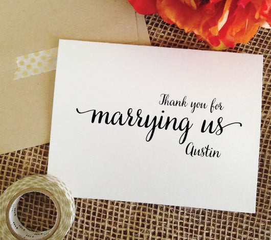 wedding officiant cards, thank you for marrying us