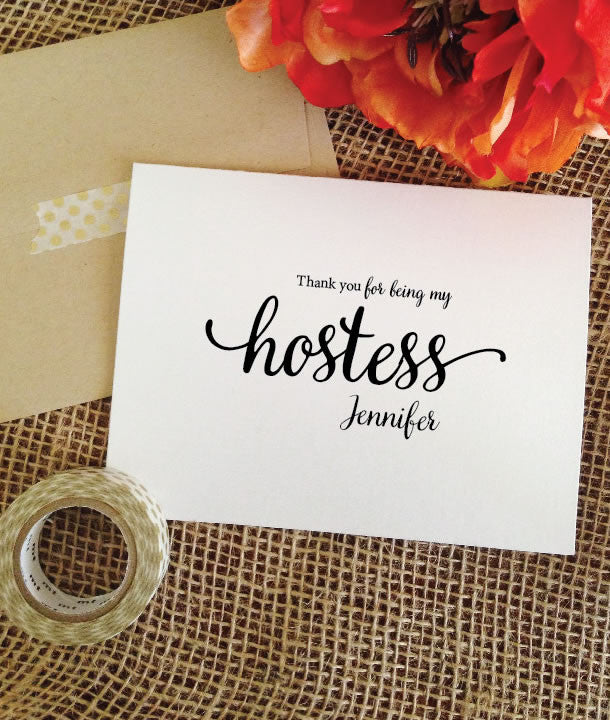 thank you for being my hostess card