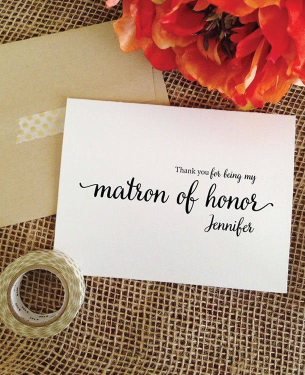 thank you for being my matron of honor card