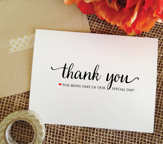 Wedding thank you for being part of our special day card (Lovely)