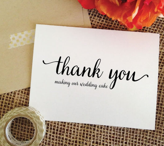 thank you for making our wedding cake card