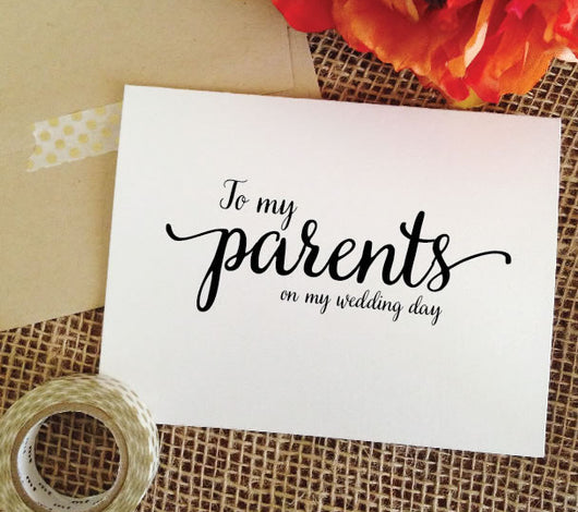 Lovely to my parents on my wedding day card