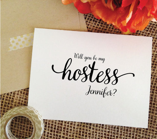 Will you be my hostess card, hostess proposal invitation