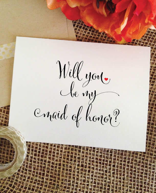 will you be my maid of honor card