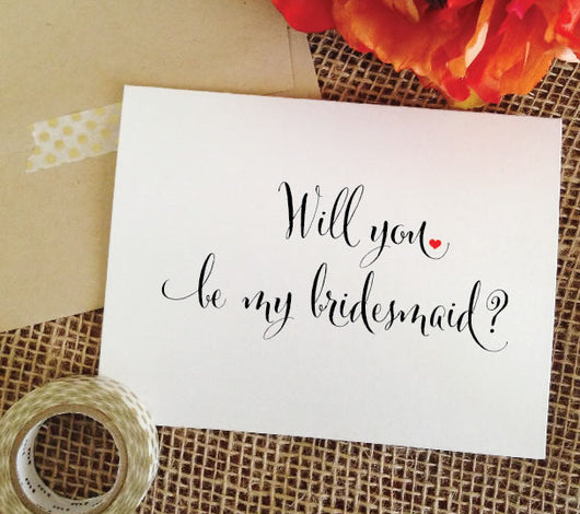 heart will you be my bridesmaid proposal card, asking bridesmaid card