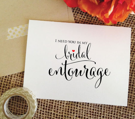 bridal entourage bridesmaid invitation card