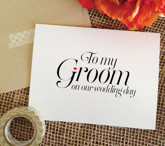 Card for groom, to my groom on our wedding day