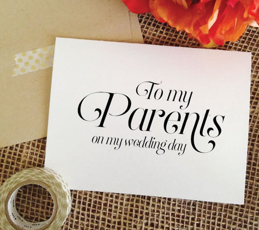 to m parents on my wedding day card