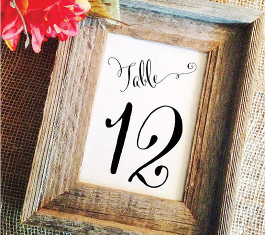 Wedding Table Numbers Elegant