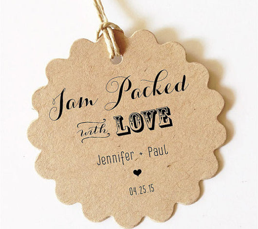 jam packed with love tags for wedding favors