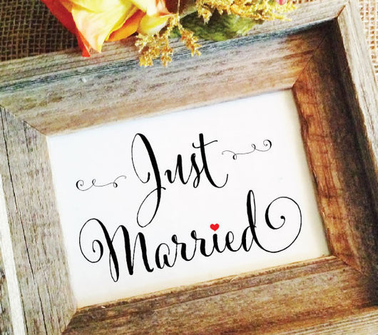 rustic wedding just married sign
