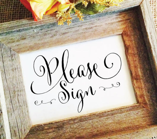 please sign, wedding guestbook signage
