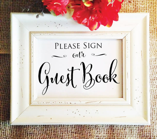 rustic please sign our guest book sign