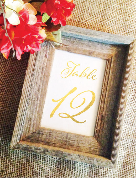 Gold or Black Pom Wedding Table Numbers