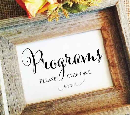 wedding program signs, wedding ceremony program signage, please take one sign, rustic wedding sign