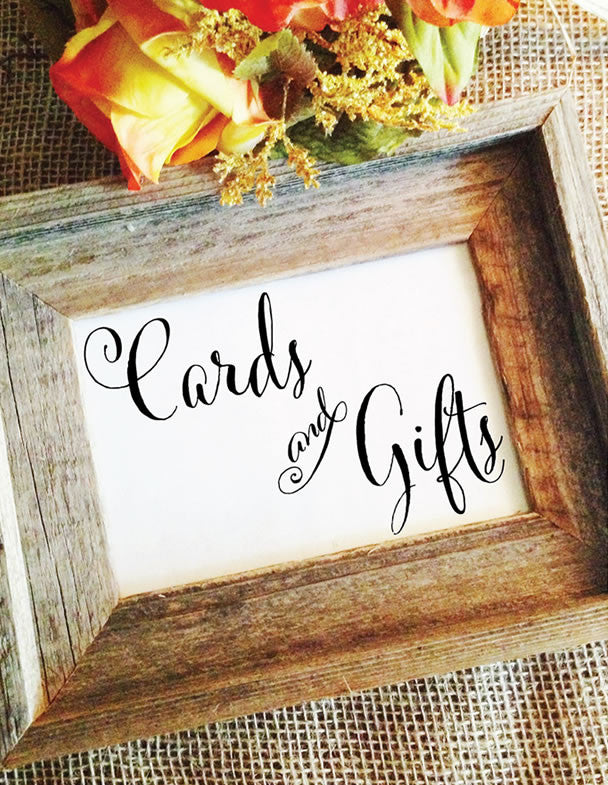 cards and gifts sign for wedding table