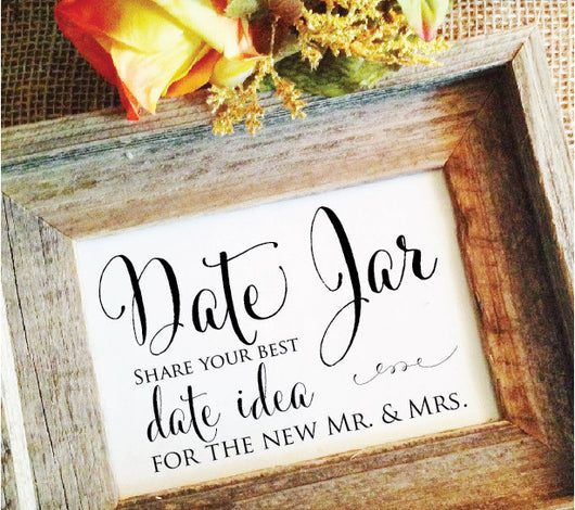 Date jar wedding sign