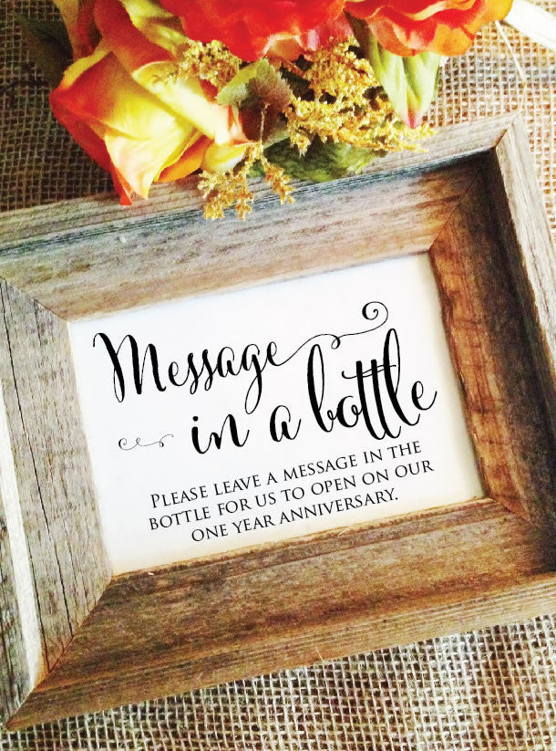 Message in a bottle message for anniversary sign – Wedding Cheer
