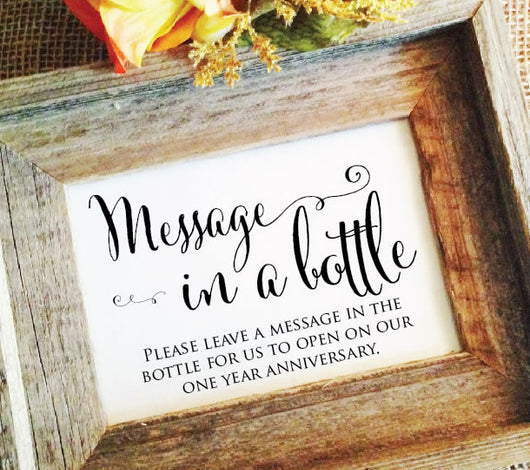 rustic wedding message in a bottle sign