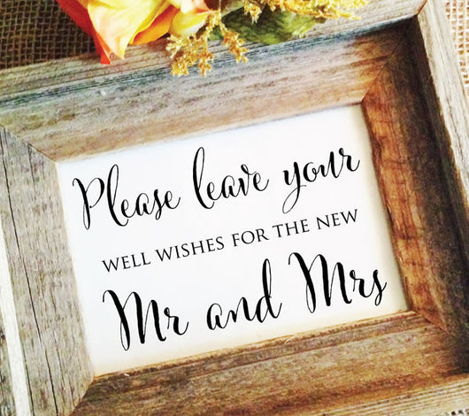 please leave your well wishes wedding sign