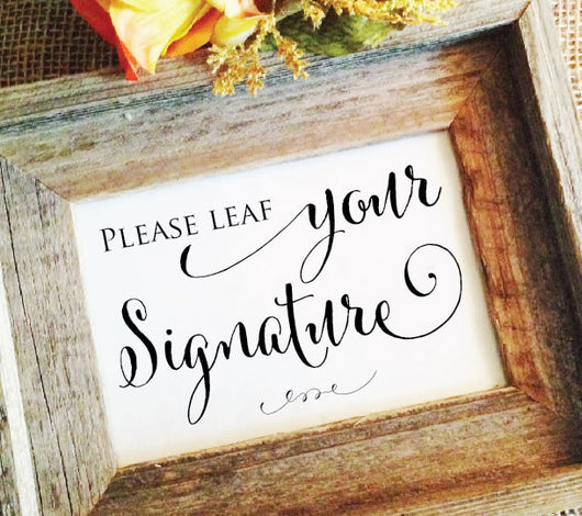 rustic wedding please leaf your signature sign
