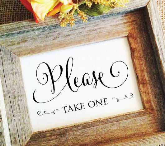 rustic wedding favors sign please take one