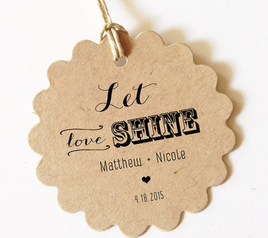 Let love shine tags sparkler gift tags