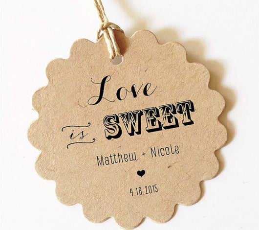 Love is Sweet Tag, Wedding Favor Tags Custom Gift Tag (Scallop) SET of 30+
