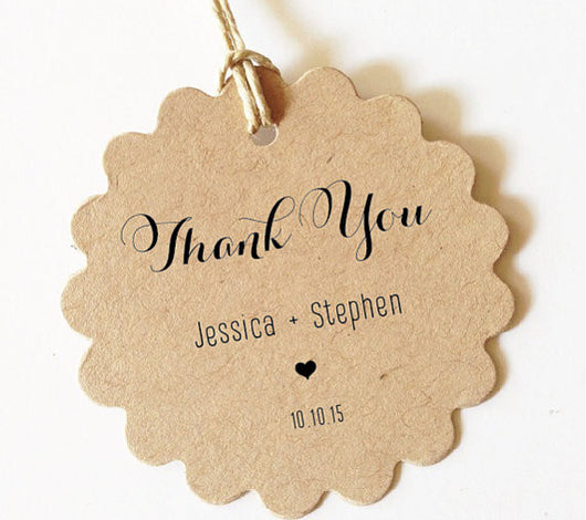 Thank You Favor Tags (Scallop) SET of 30+