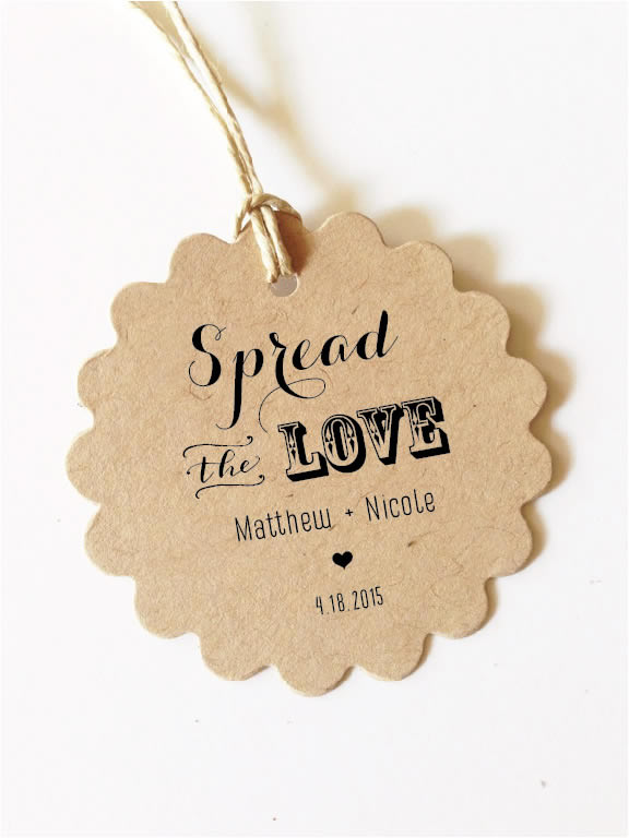 Spread The Love Wedding Favor Tags Gift Tags Jam Labels Scallop
