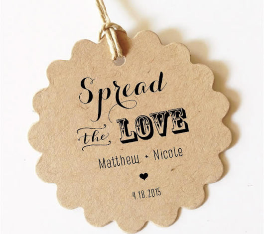 Spread the Love Tag, Wedding Favor Tags (Scallop) SET of 30+