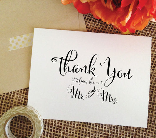 wedding thank you cards mr and mrs