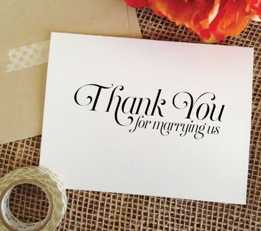 wedding card for officiant - thank you for marrying us