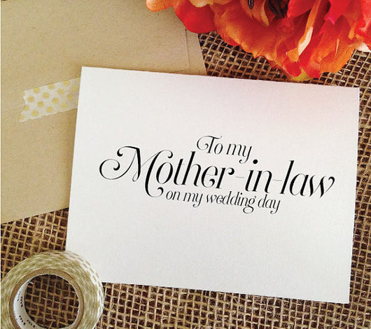 To my Mother-in-law on my wedding day Card sophisticated