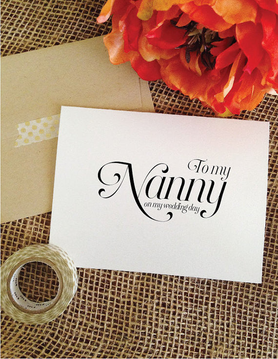 To my Nanny on my wedding day Card