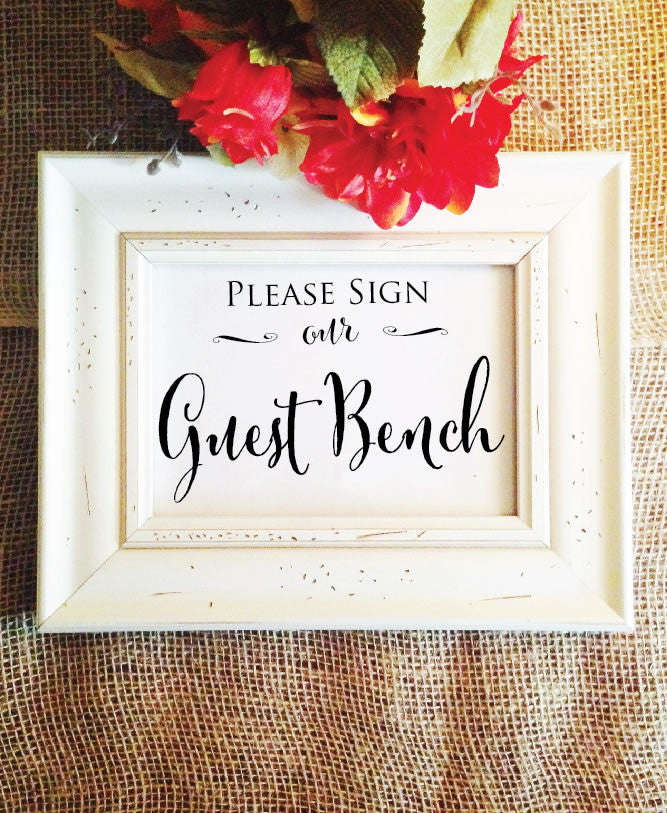 wedding please sign our guest bench sign