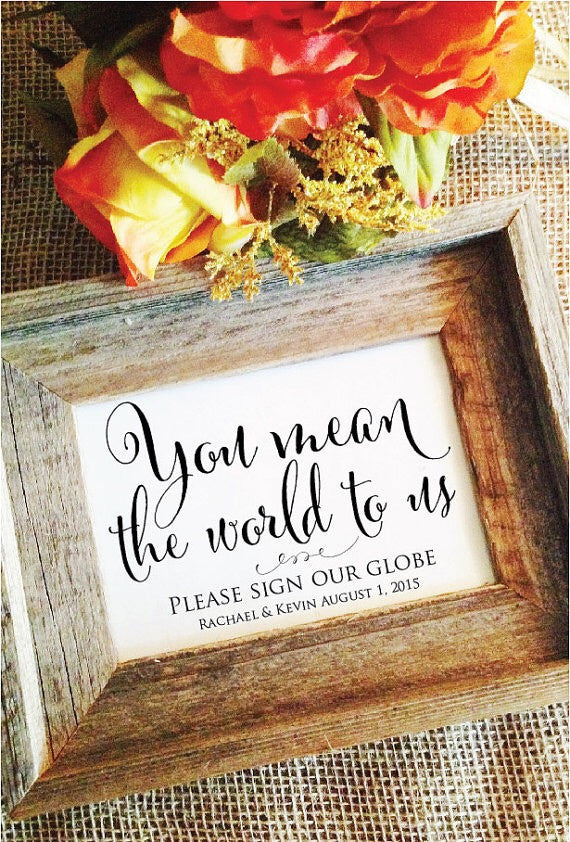You mean the world to us please sign our globe wedding sign