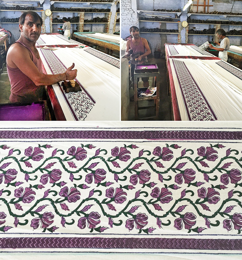 block printing on table - sample - pallu design