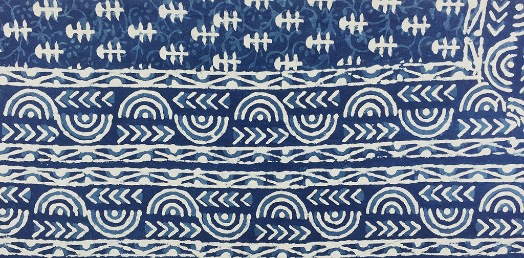 indigo sample blue design - pallu design
