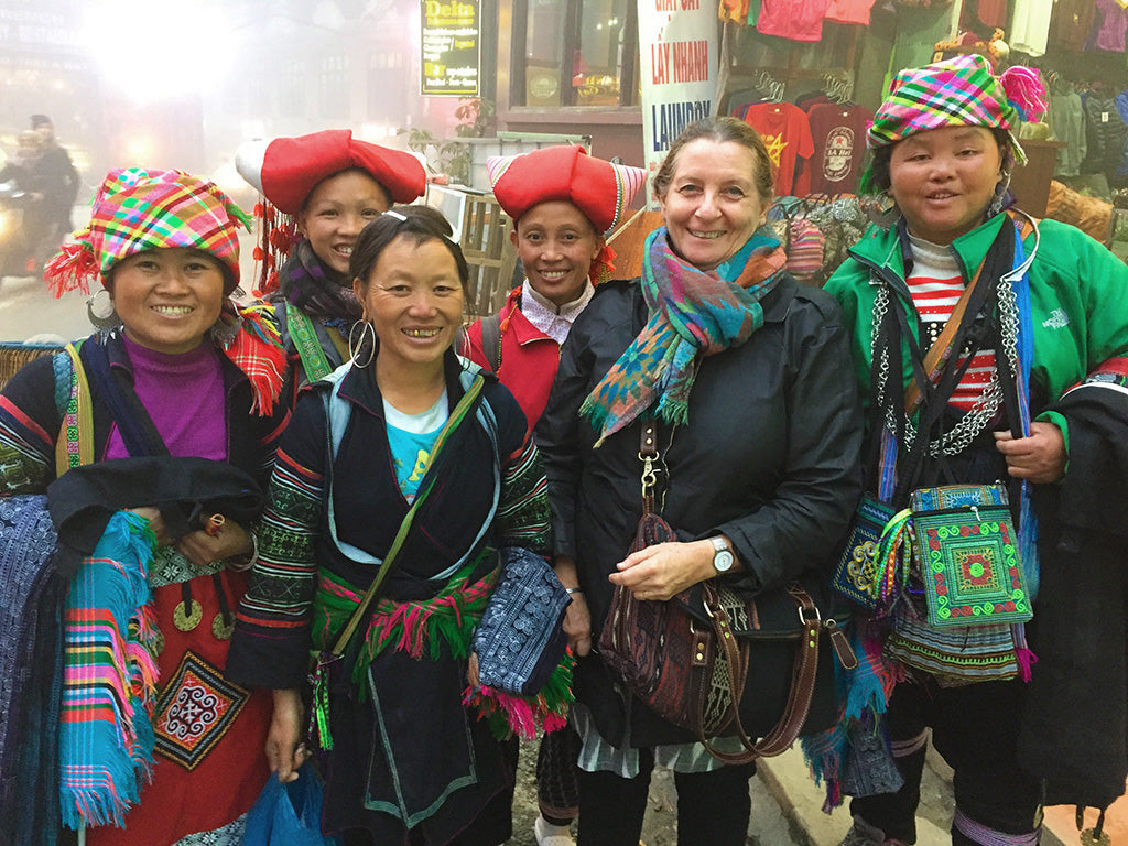 hmong hilltribe ladies in sapa vietnam - pallu design