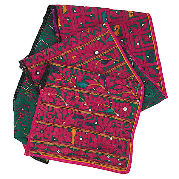 Indian Embroidery - Rabari Embroidery in Pink, Green and Gold - Pallu Design