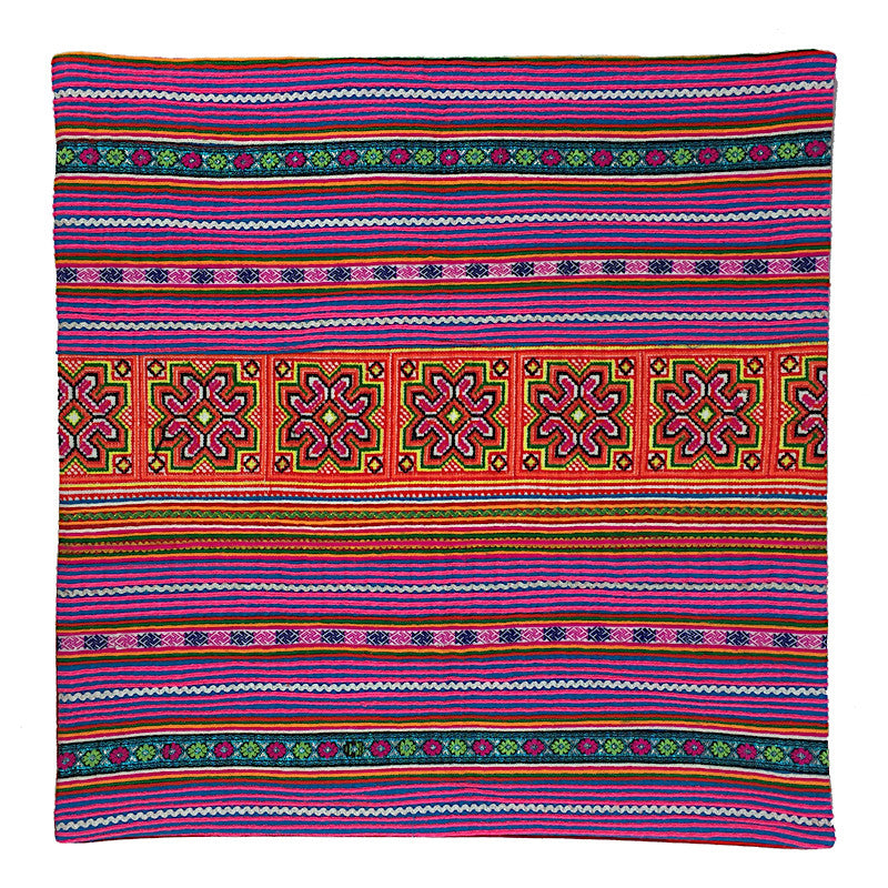 Ethnic Hmong Cushion - Orange & Purple - Pallu Design