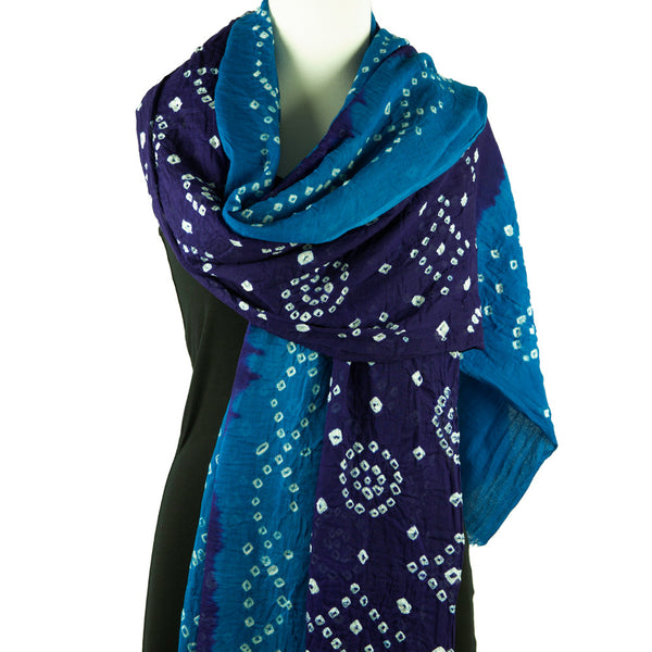 Bandhani Scarf or Sarong, Purple and Blue - Pallu Design