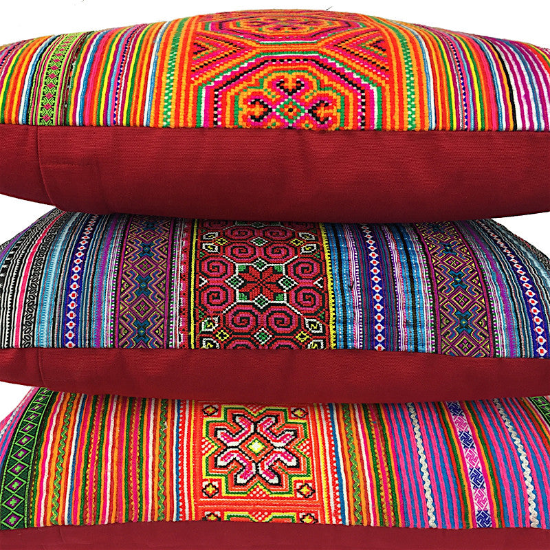 Embroidered Cushion Purple and Orange - Pallu Design