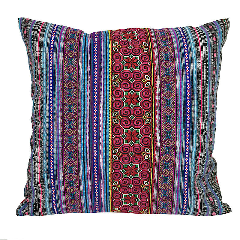 Embroidered Hmong Tribal Cushion - Blue - Pallu Design