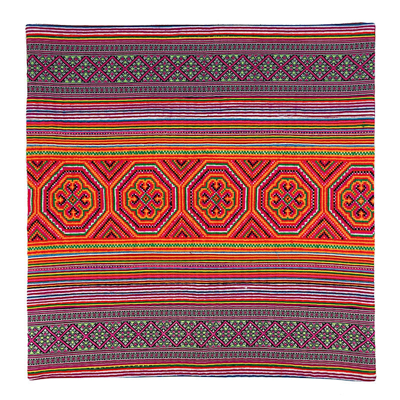 Ethnic Hmong Embroidery Cushion Handmade In Purple And Orange