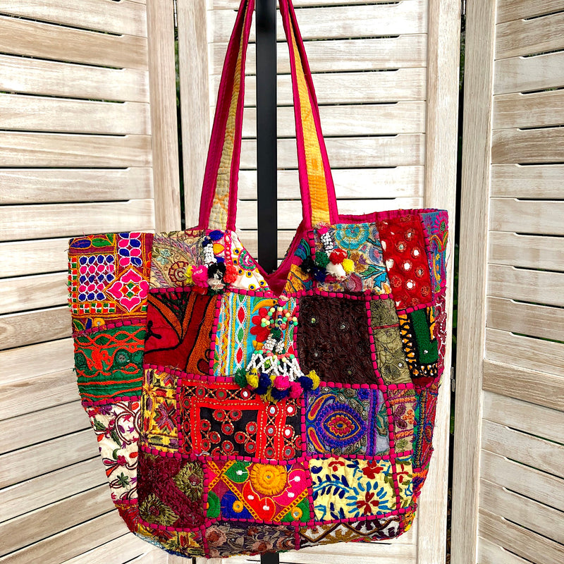 Large Embroidered Rabari Tote Bag - Pallu Design